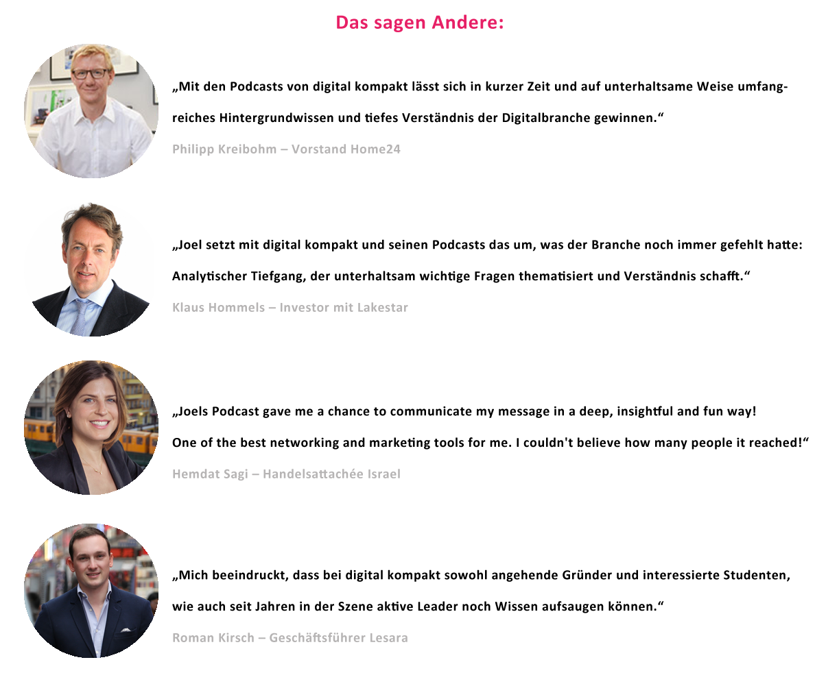 digital kompakt, Podcasts, Testimonials