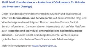 Tickeranzeige, Foundersbox